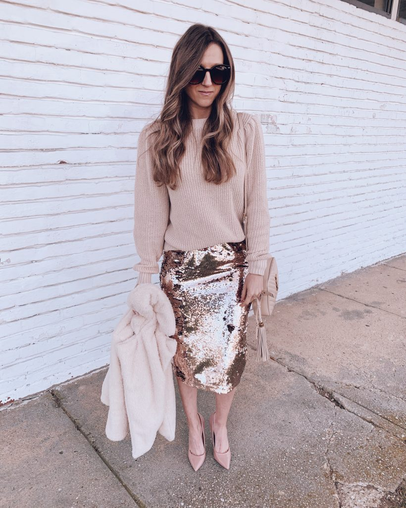 blush holiday sweater outfit from walmart rose gold sequin skirt