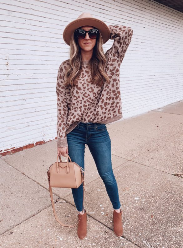 leopard print sweater outfit