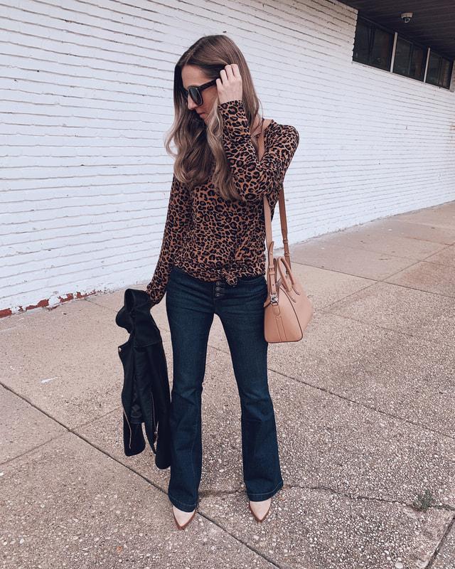 work wear teacher jeans outfit back to school leopard top