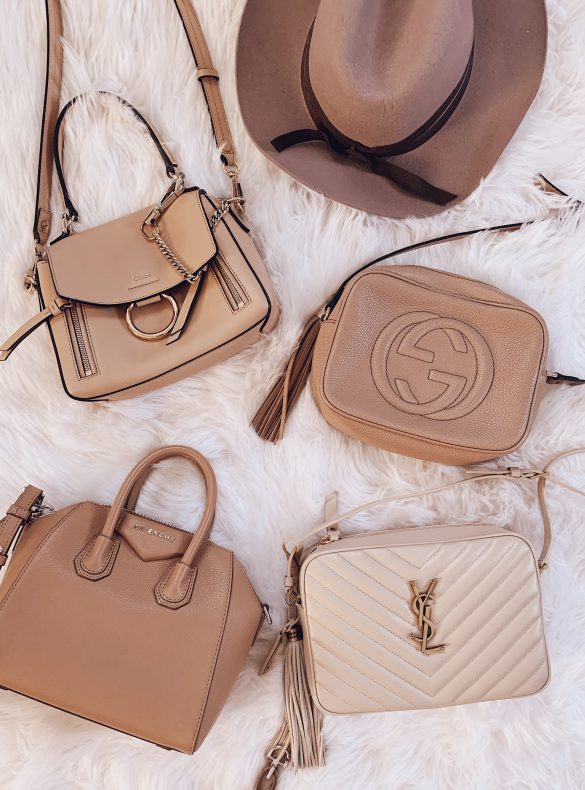 best tan neutral luxury designer leather handbags purses chloe gucci ysl saint laurent givenchy