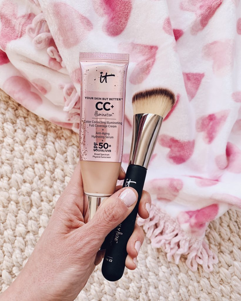 It cosmetics cc+ cream illumination SPF 50 with the heavenly bye bye foundation makeup brush for beautiful, glowy, hydrated skin