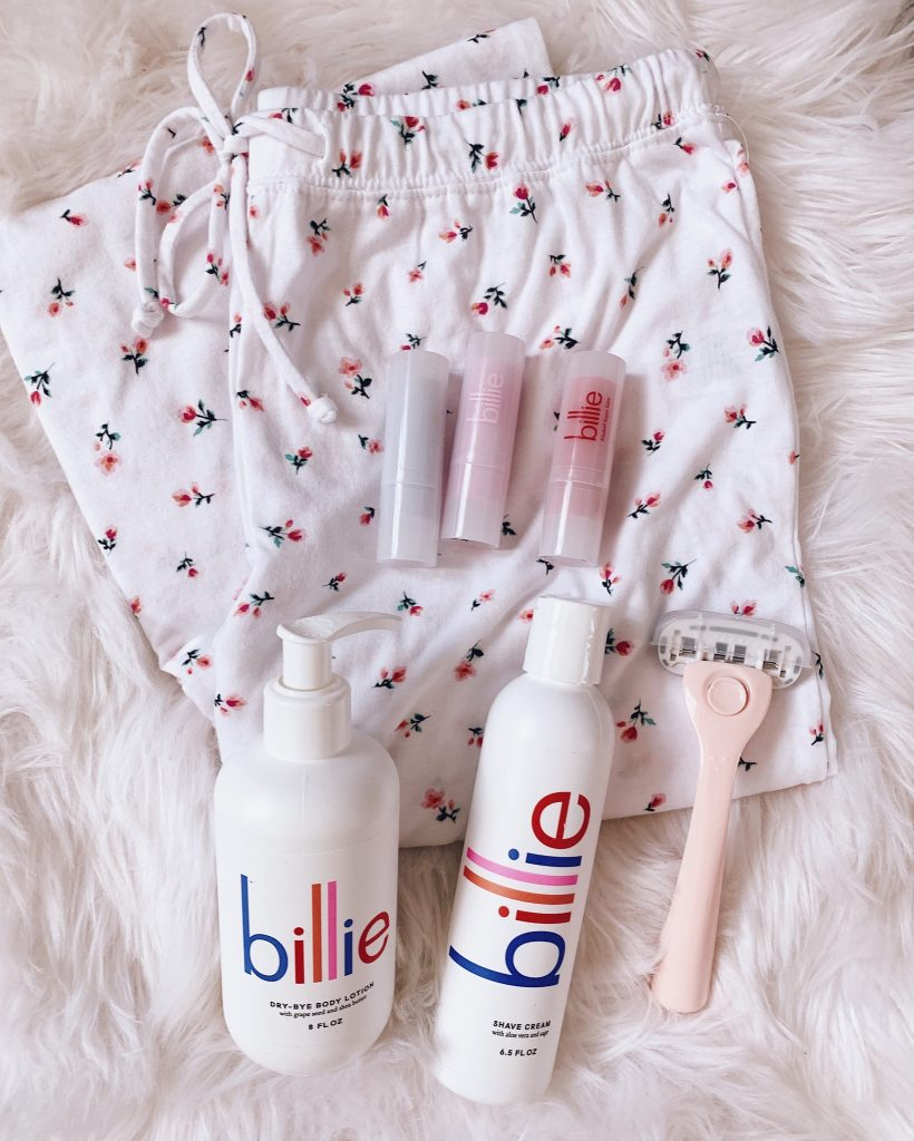 light pink billie razor and billie shave cream dry bye body lotion