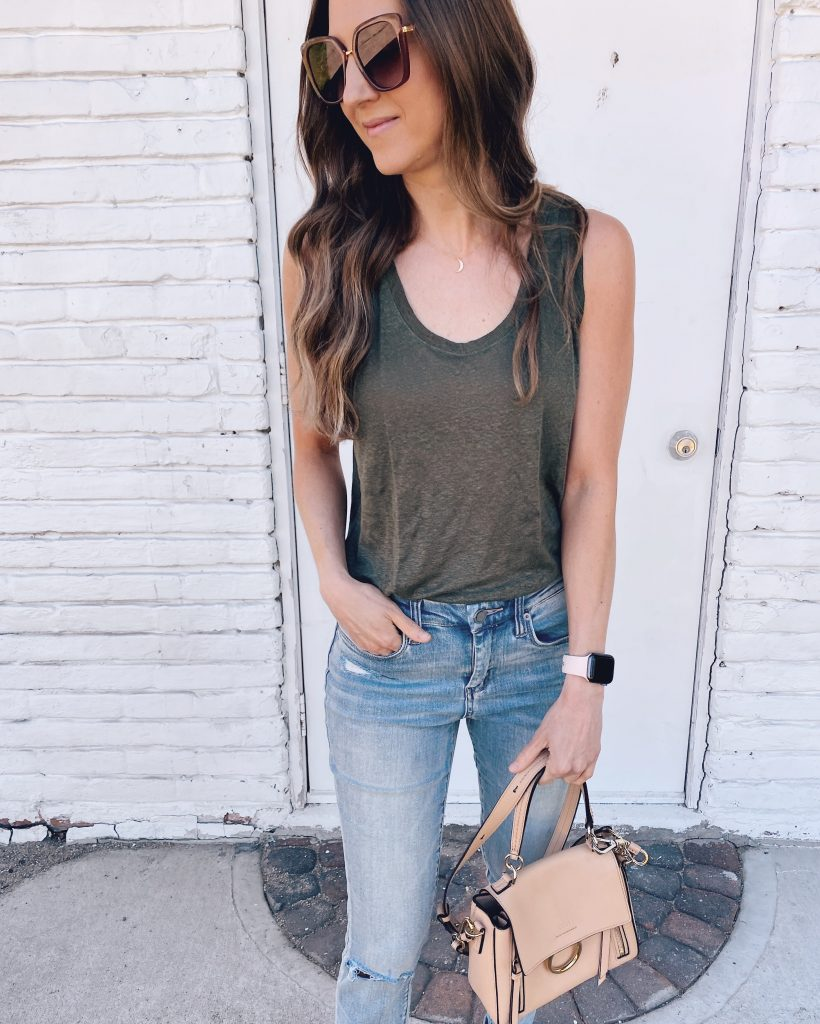 express easy tank top summer outfit with blue jeans Chloe handbag