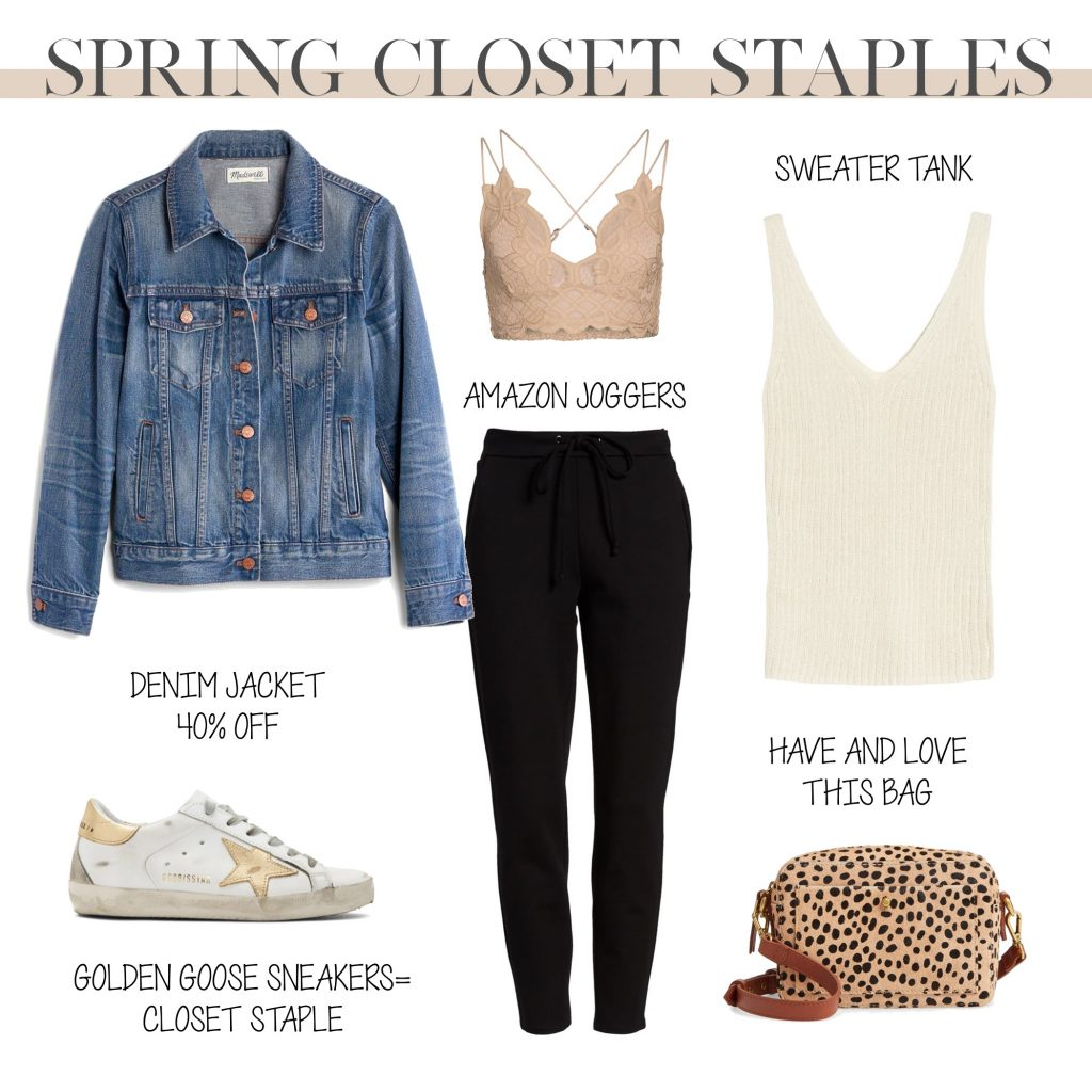 amazon fashion jogger sweatpants outfit with lace bralette denim blue jean jacket golden goose all star sneakers