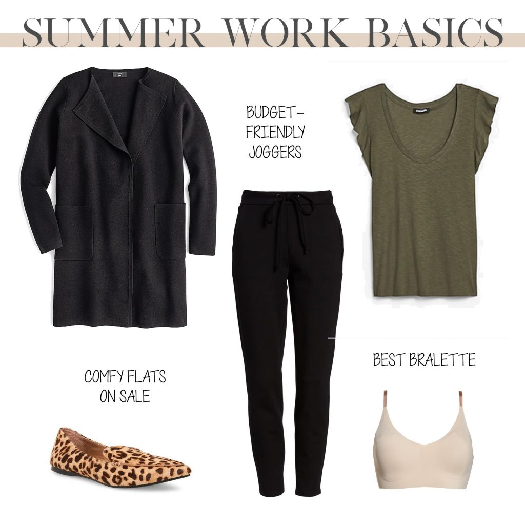 how to wear joggers to work, amazon fashion joggers outfit with cardigan and leopard loafer flats