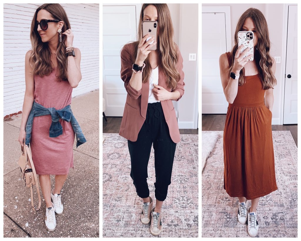 golden goose sneaker fashion blogger outfits, casual tank dress, teacher work wear classroom outfit