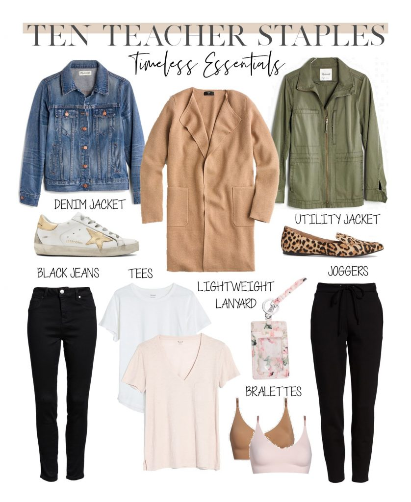 teacher style outfit formula, how to get dressed for the classroom, essential teacher wardrobe clothing staples