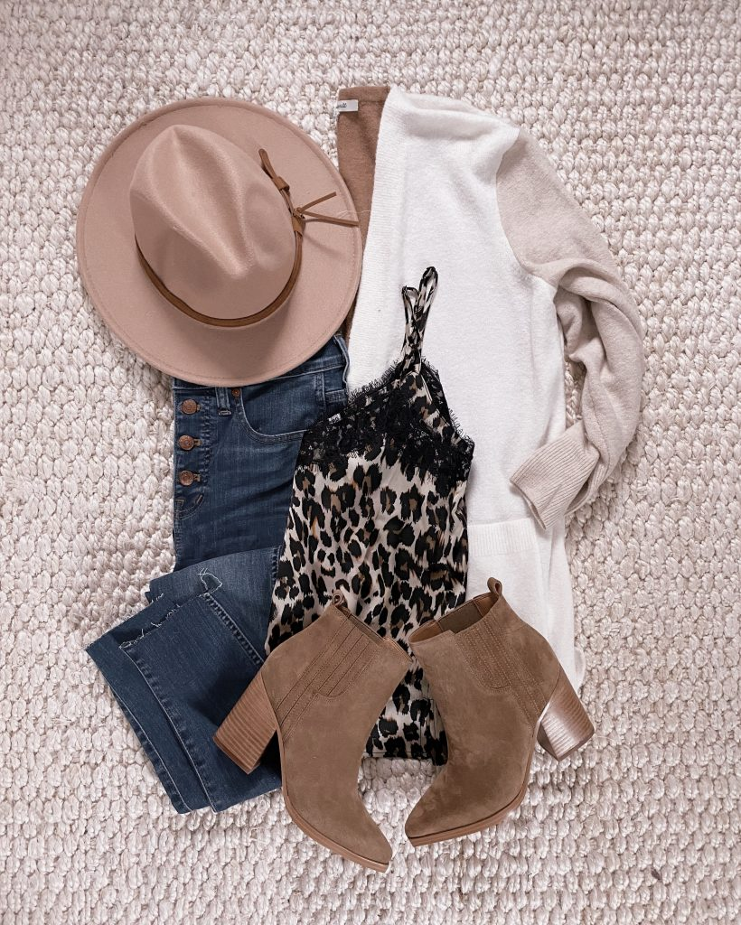 nordstrom anniversary sale outfit heeled booties fall hat