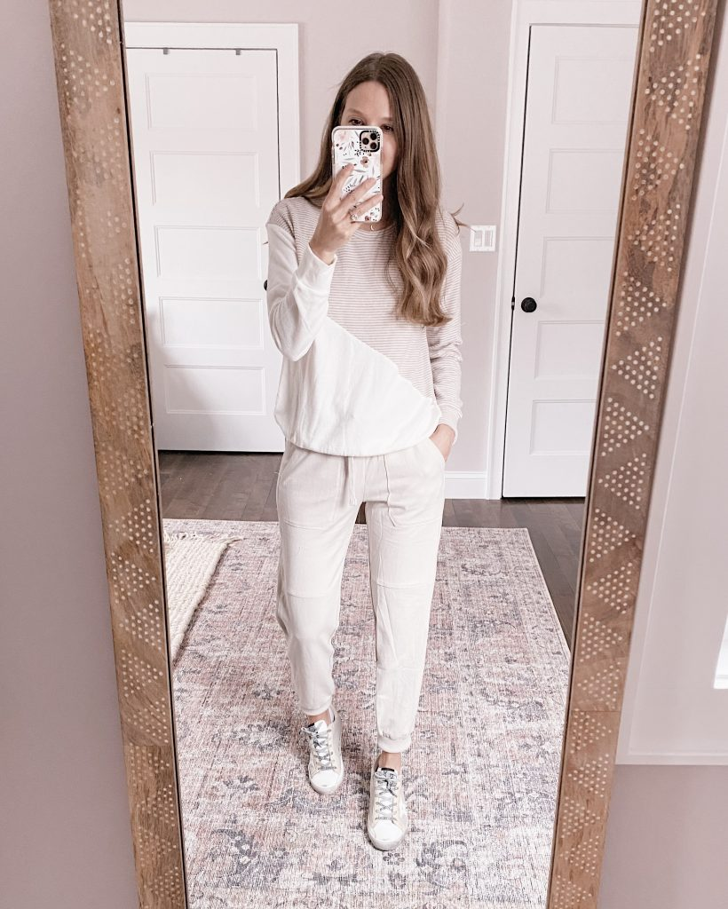 nordstrom anniversary sale outfit Zella washed organic cotton ankle jogger pants