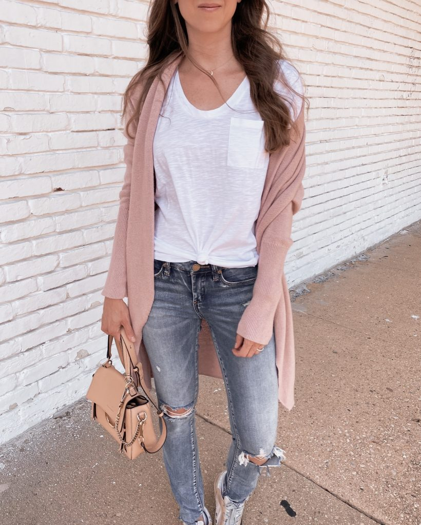 nordstrom anniversary sale outfit Leith long cardigan with blue jeans