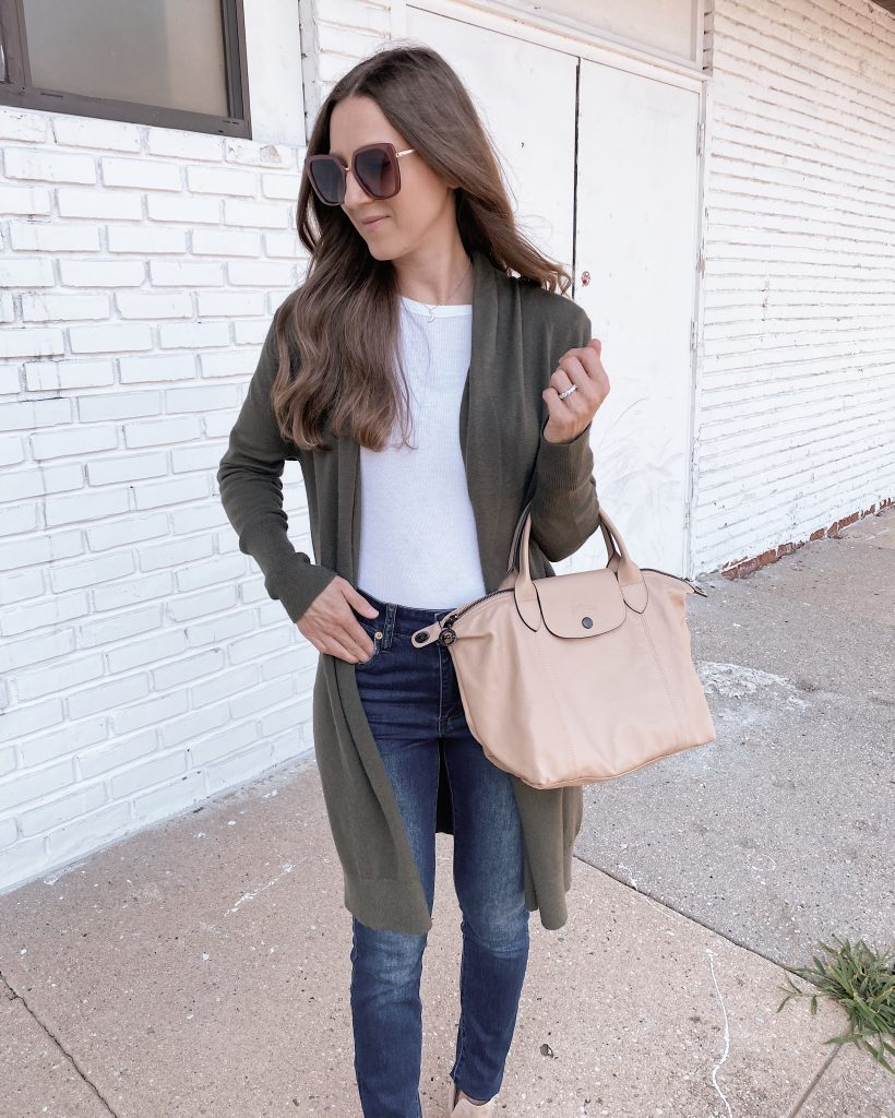 nordstrom anniversary sale outfit Leith cozy long cardigan olive night color with blue jeans