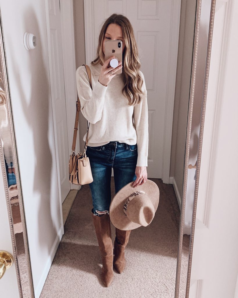 nordstrom anniversary sale outfit BP white crewneck top with blue jeans suede boots